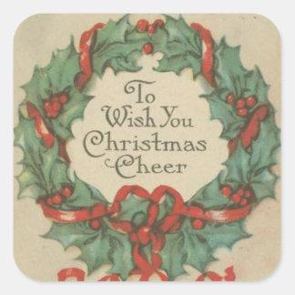 Guirnalda del navidad del vintage con deseos pegatina cuadrada