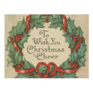 Guirnalda del navidad del vintage con deseos postal