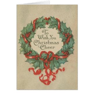 Guirnalda del navidad del vintage con deseos tarjeta de felicitación