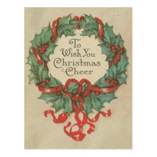 Guirnalda del navidad del vintage con deseos tarjeta postal