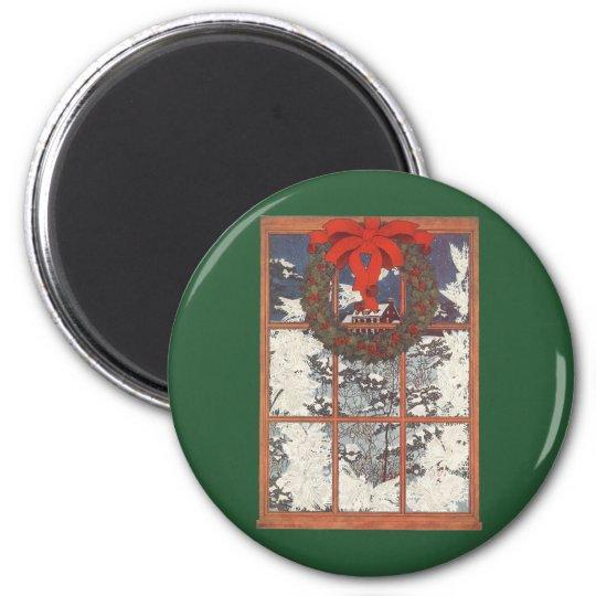 Guirnalda del navidad del vintage en una ventana imán redondo 5 cm