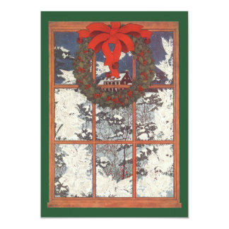 Guirnalda del navidad del vintage en una ventana invitación personalizada