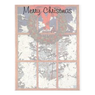 Guirnalda del navidad del vintage en una ventana membrete a diseño