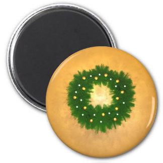 Guirnalda del navidad en el oro imán redondo 5 cm