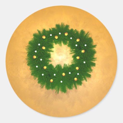 Guirnalda del navidad en el oro pegatina redonda