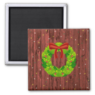 Guirnalda del navidad en el tablero de madera imán cuadrado