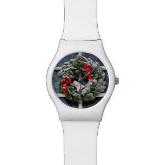 Guirnalda del navidad Nevado Reloj