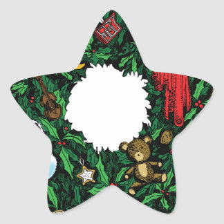 Guirnalda del navidad pegatina forma de estrella personalizada