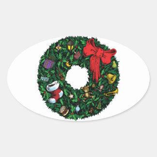 Guirnalda del navidad calcomania de óval