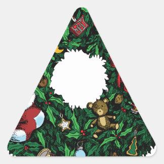 Guirnalda del navidad calcomanías de triangulos personalizadas