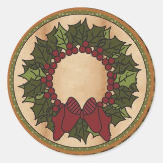 Guirnalda del navidad pegatinas redondas