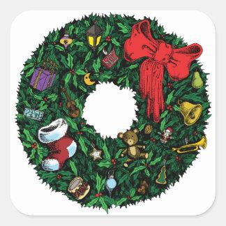 Guirnalda del navidad calcomania cuadradas