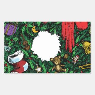 Guirnalda del navidad rectangular pegatina