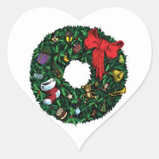 Guirnalda del navidad calcomania de corazon personalizadas