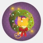 Guirnalda del navidad pegatina redonda