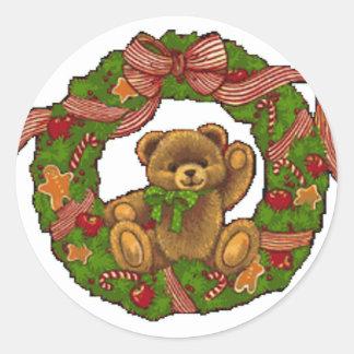 Guirnalda del oso de peluche del navidad pegatina redonda