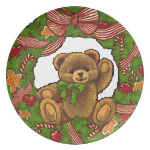 Guirnalda del oso de peluche del navidad platos