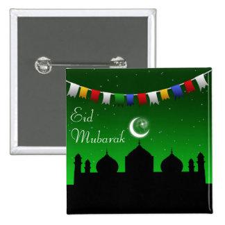 Guirnalda del Ramadán Eid - botón islámico Pin Cuadrado