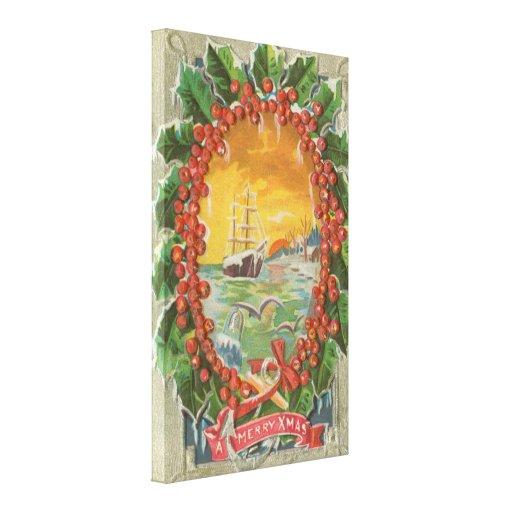 Guirnalda del velero del navidad del vintage impresión de lienzo