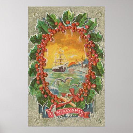 Guirnalda del velero del navidad del vintage poster