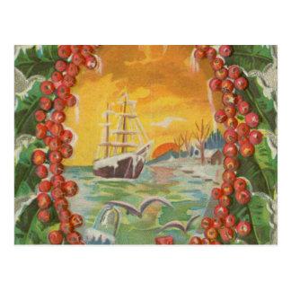Guirnalda del velero del navidad del vintage postal