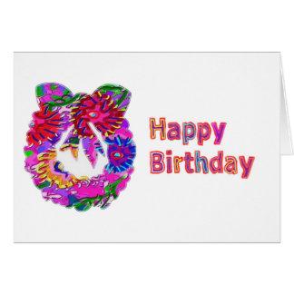Guirnalda elegante de la flor del arte n de tarjeta de felicitación