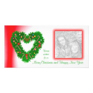 Guirnalda en forma de corazón del navidad tarjetas personales