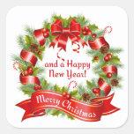 Guirnalda: ¡Felices Navidad y una Feliz Año Nuevo! Pegatinas Cuadradas Personalizadas