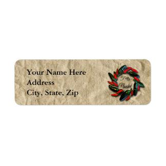 Guirnalda Feliz Navidad de la pimienta del Etiqueta De Remite