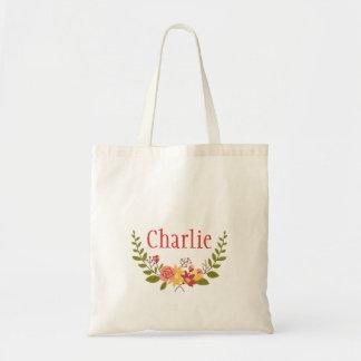 Guirnalda floral adorable con nombre bolsa tela barata