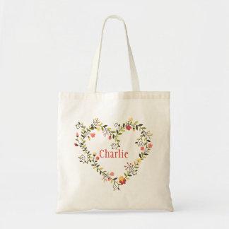 Guirnalda floral adorable del corazón con nombre bolsa tela barata