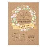 Guirnalda floral caprichosa en el boda de papel de anuncios