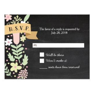 Guirnalda floral caprichosa en la pizarra RSVP Tarjeta Postal