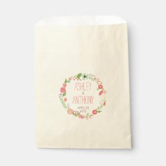 Guirnalda floral caprichosa personalizada casando bolsas de recuerdo