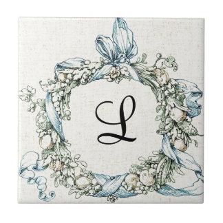 Guirnalda floral con monograma azulejo cuadrado pequeño