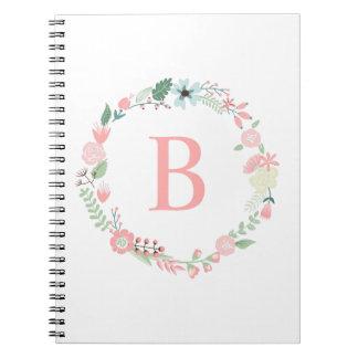 Guirnalda floral con monograma delicada note book