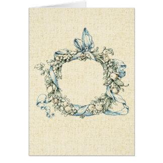 Guirnalda floral con monograma tarjeta de felicitación
