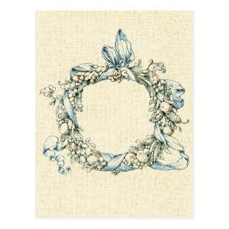 Guirnalda floral con monograma tarjeta postal