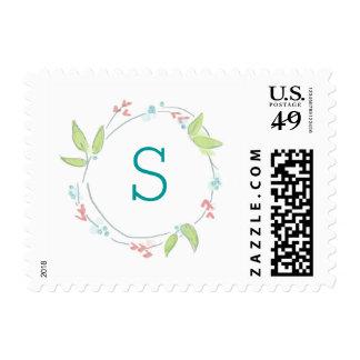 Guirnalda floral de la acuarela delicada con el sellos