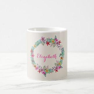 Guirnalda floral de la acuarela romántica taza de café
