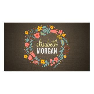 Guirnalda floral de la arpillera de lino elegante tarjetas personales