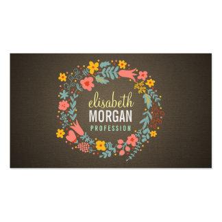 Guirnalda floral de la arpillera rústica del país tarjetas de visita