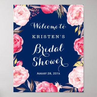 Guirnalda floral de la ducha de los azules marinos póster