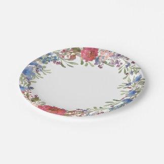 Guirnalda floral de la primavera plato de papel de 7 pulgadas