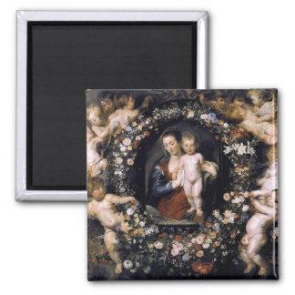 Guirnalda floral de Madonna con el niño por el Imán Cuadrado
