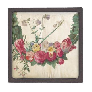 Guirnalda floral del arte del vintage caja de joyas de calidad