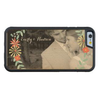 Guirnalda floral del melocotón moderno su foto funda de iPhone 6 bumper arce