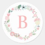 Guirnalda floral del monograma de encargo etiqueta