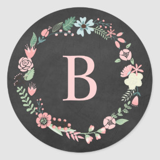 Guirnalda floral del monograma de la pizarra del v pegatina