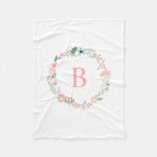 Guirnalda floral del monograma rosado manta de forro polar